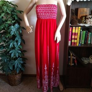No Boundaries Red And White Strapless Maxi Dress